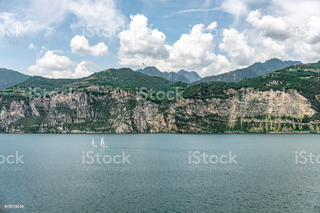 Lake Garda viewed from the village of Malcesine in Italy stock photo
