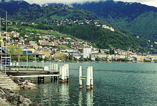 Lake Geneva, Alps mountains and view of Montreux