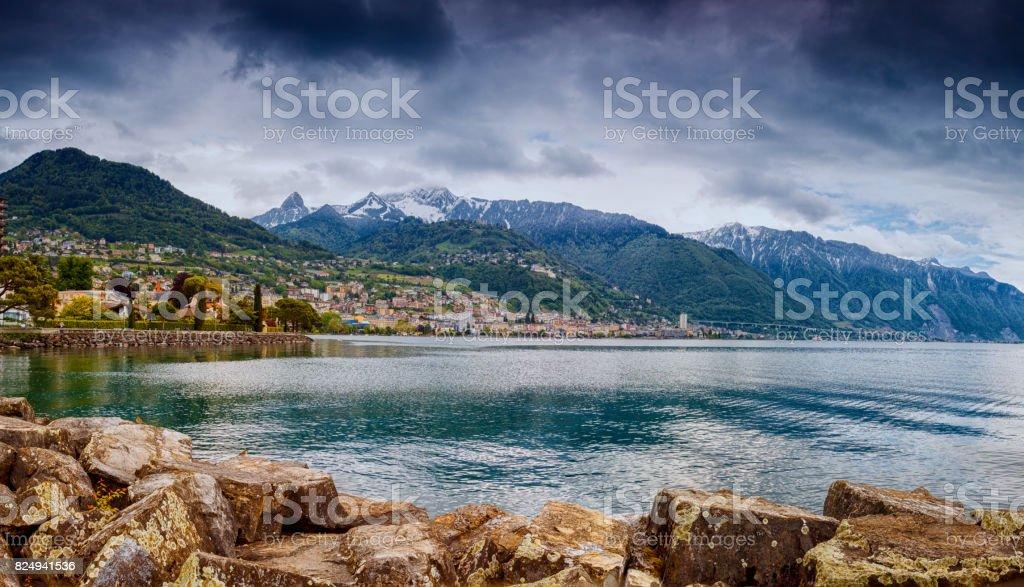 Lake Geneva and Montreux stock photo