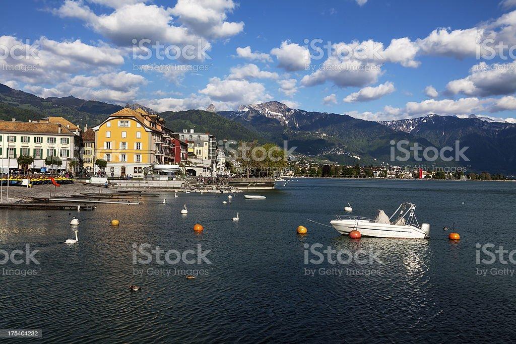 Lake Geneva and the Swiss Alps at Vevey stock photo