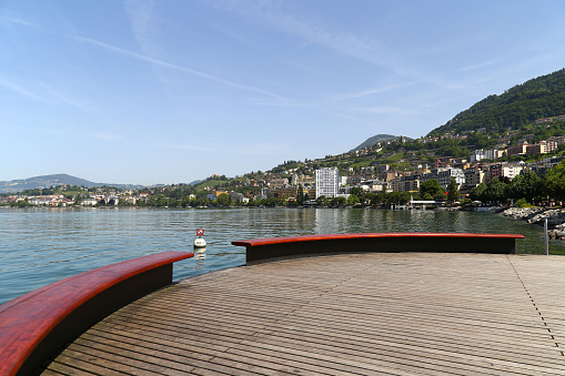 Lake Geneva and the Swiss Alps in Montreux, Switzerland
