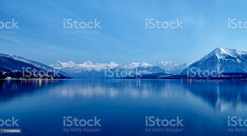 Lake Geneva at Night, Switzerland stock photo