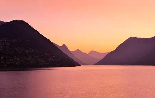 Lake Geneva at Sunset Pink Sky, Geneva, Switzerland
