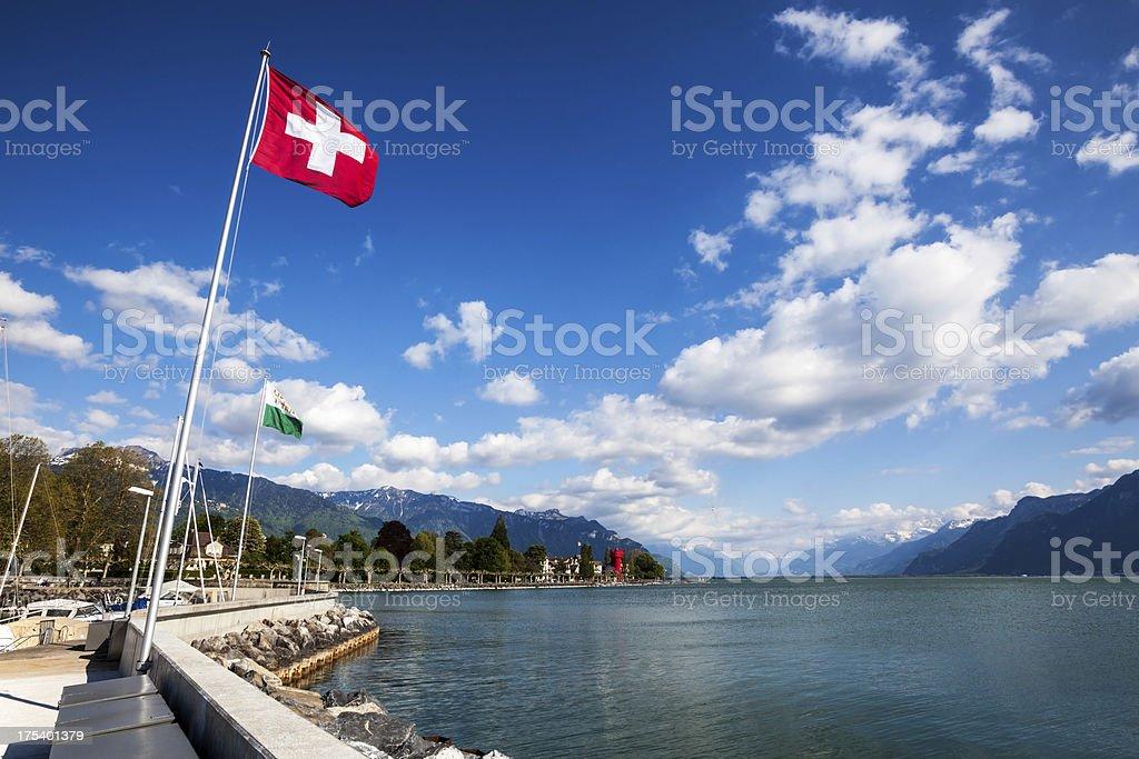 Lake Geneva at Vevey, Switzerland stock photo