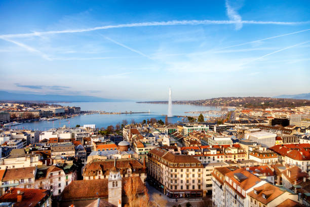Lake Geneva from Above, Geneva, Switzerland Aerial view of Geneva, Lake Geneva with famous fountain Jet d´Eau are seen in the background, Switzerland, 50 megapixel image. switzerland stock pictures, royalty-free photos & images