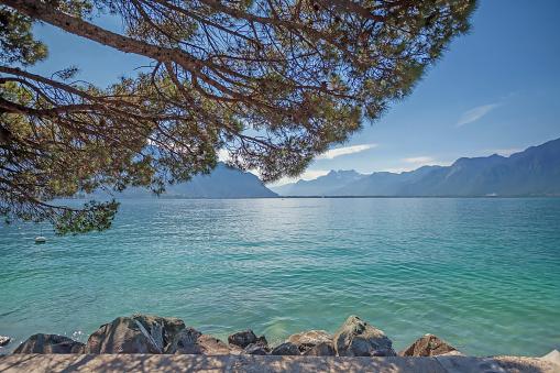 Lake Geneva from Montreux, Switzerland.