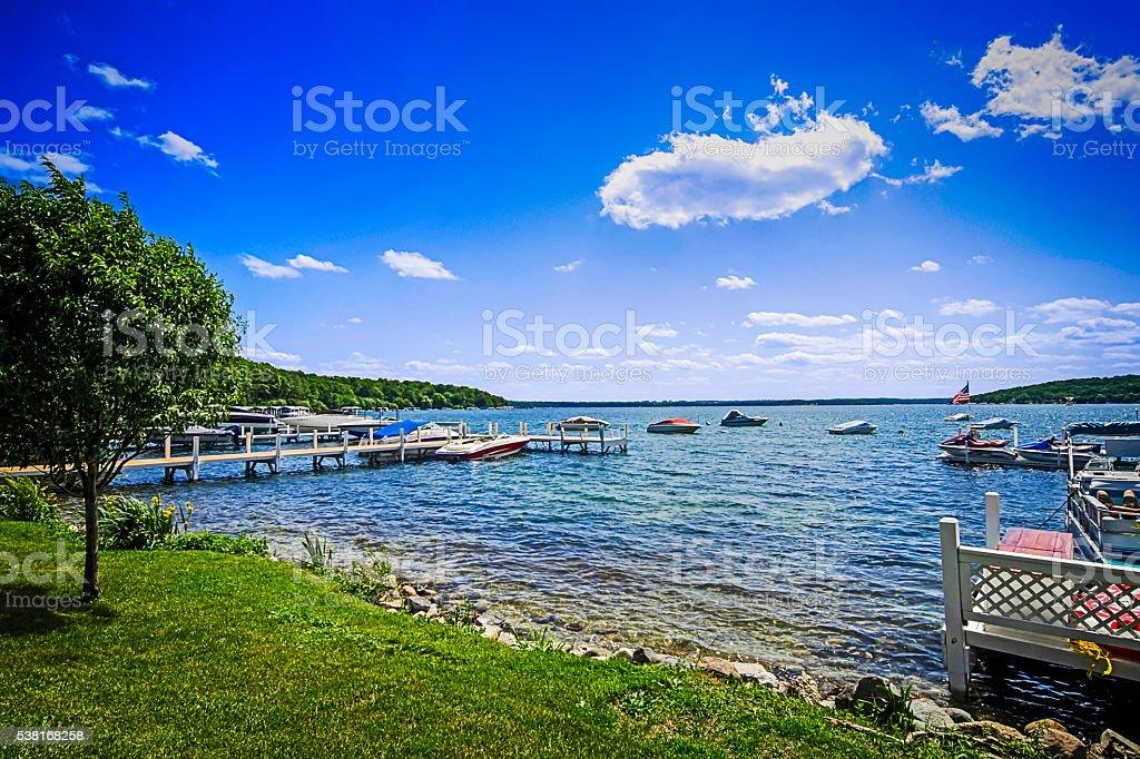 Lake Geneva in Wisconsin stock photo