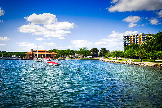 lake geneva in wisconsin - lake geneva stock photos and pictures