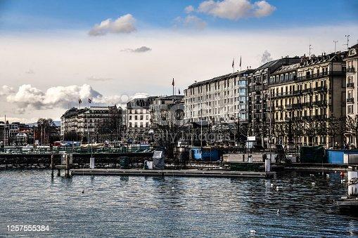 Lake Geneva Pier And Apartments In Geneva, Switzerland