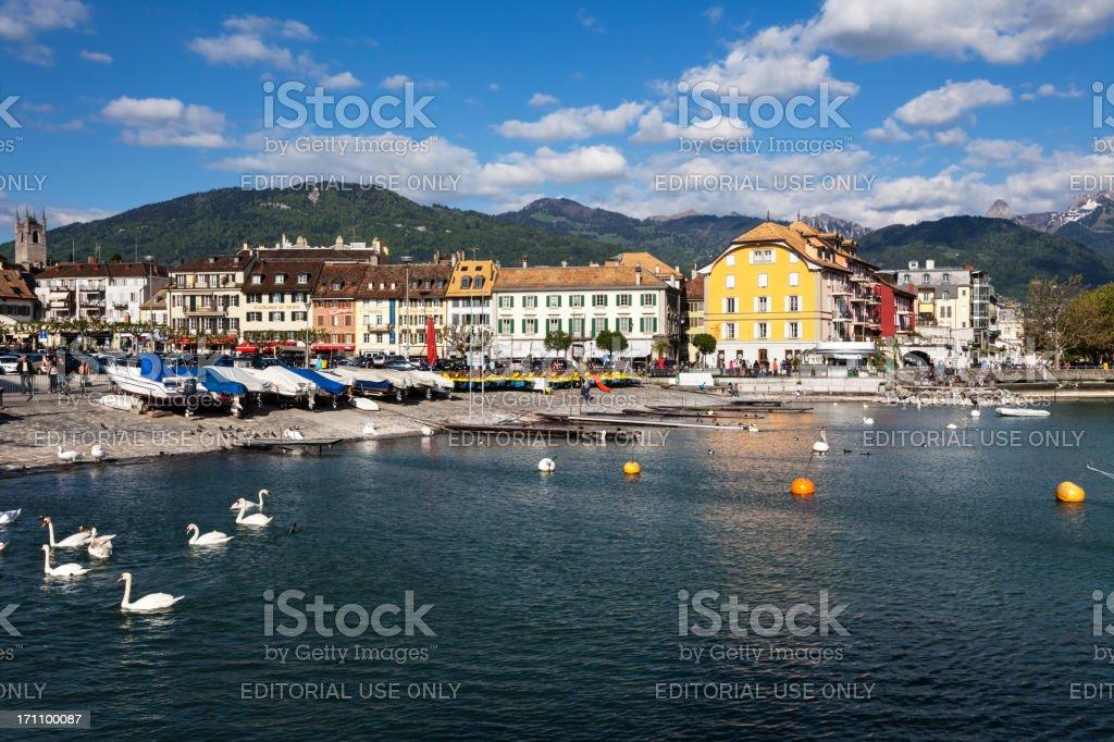 Lake Geneva Waterfront at Vevey, Switzerland stock photo