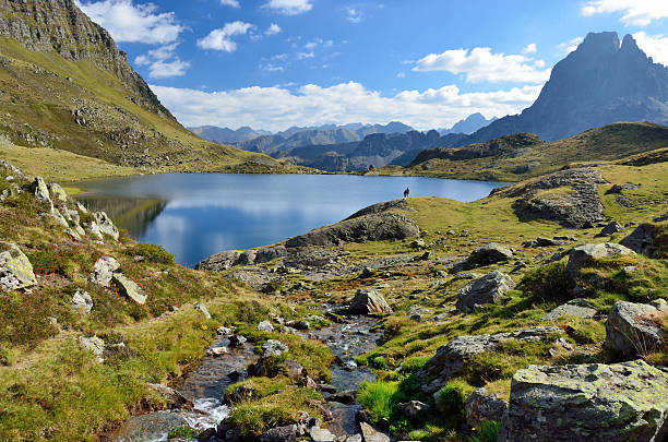 lake gentau in the bearn pyrenees - bearn stok fotoğraflar ve resimler