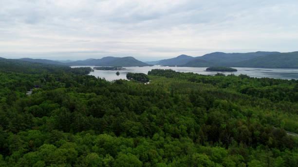 Lake George Aerial View stock photo