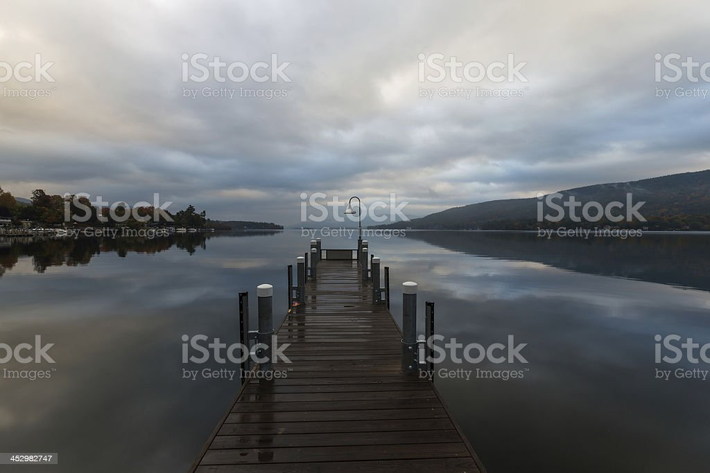 Lake George and the Adirondack Mountains at sunrise. stock photo