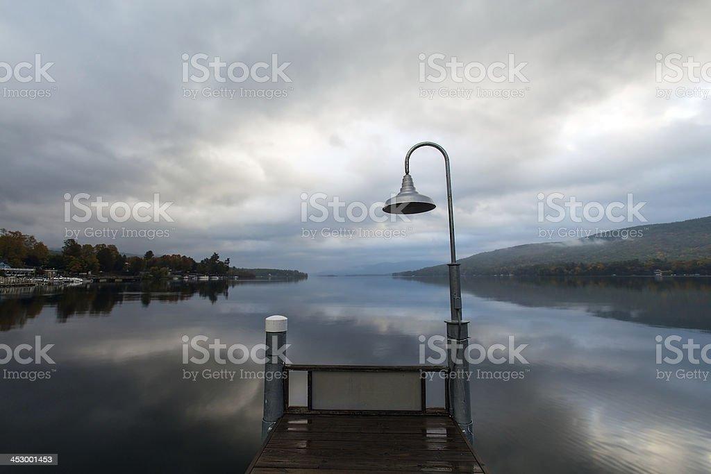 Lake George at sunrise stock photo