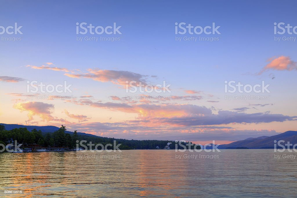 Lake George at sunset, NY. stock photo