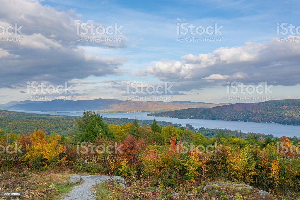 Lake George & Autumn Colors stock photo