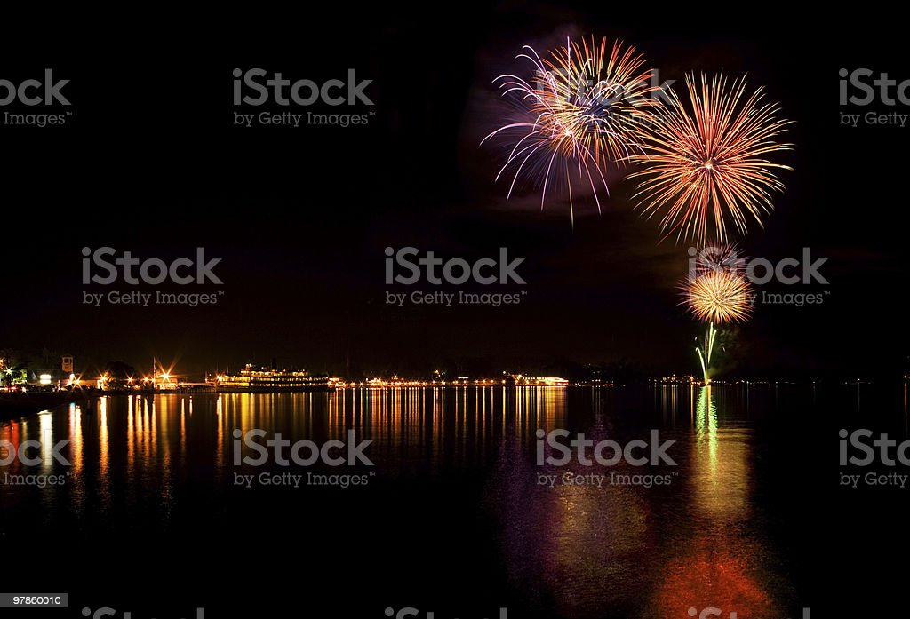 Lake George Fireworks stock photo