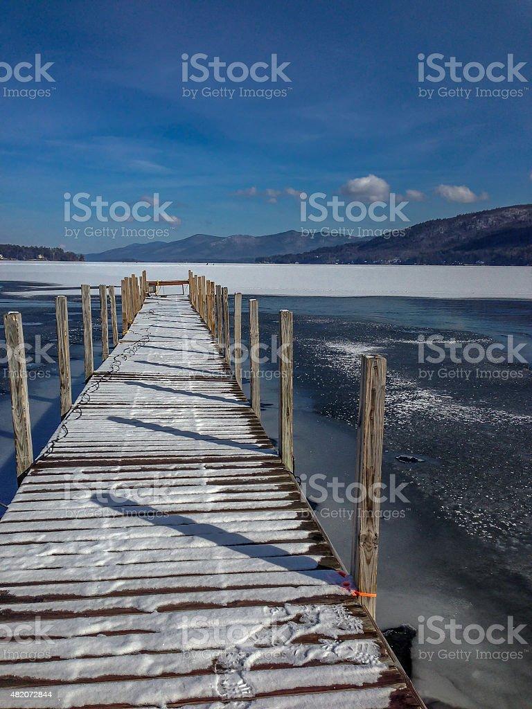 Lake George Long Pier stock photo