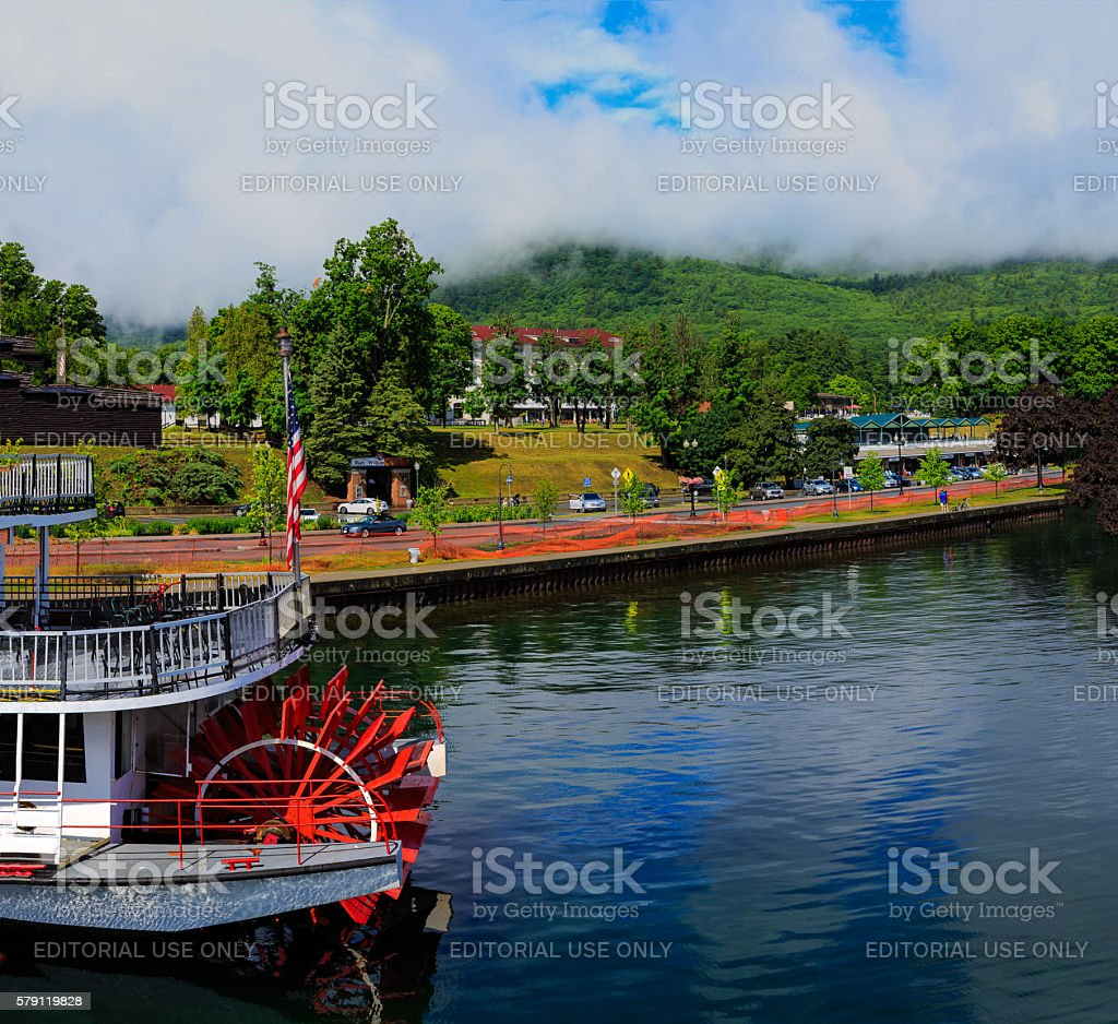 Lake George NY looking from a boat on the lake. stock photo