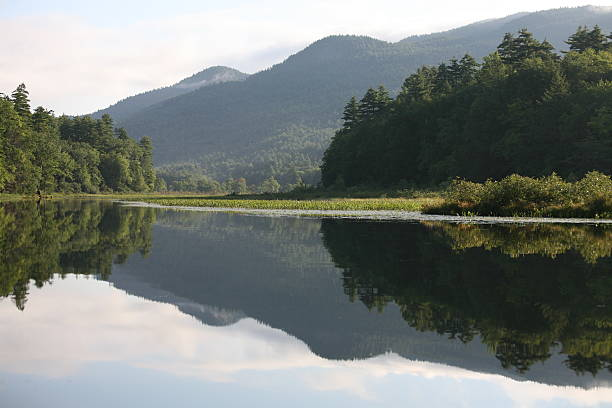 Lake George Reflection stock photo