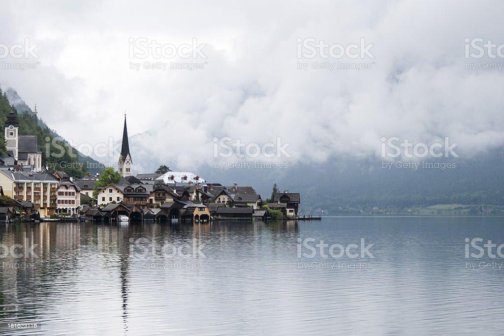 Lake Hallstatt with both churches royalty-free stock photo