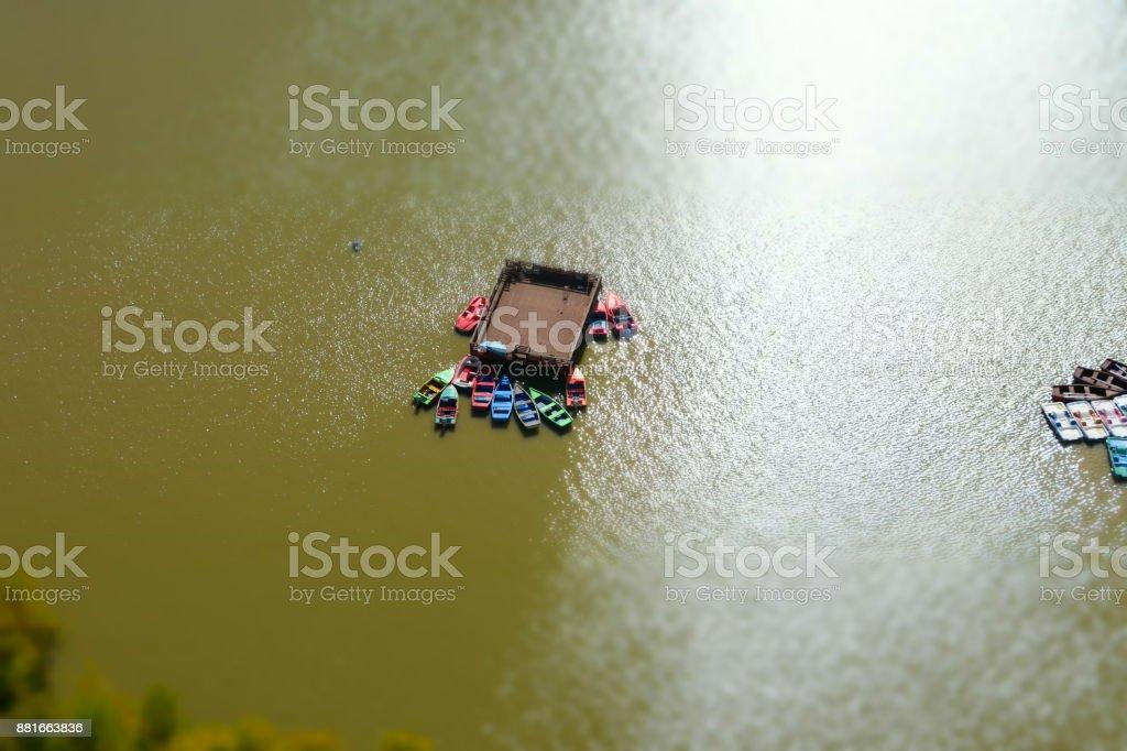 Lake 'Hayarkon Park' Tel Aviv Aerial view stock photo
