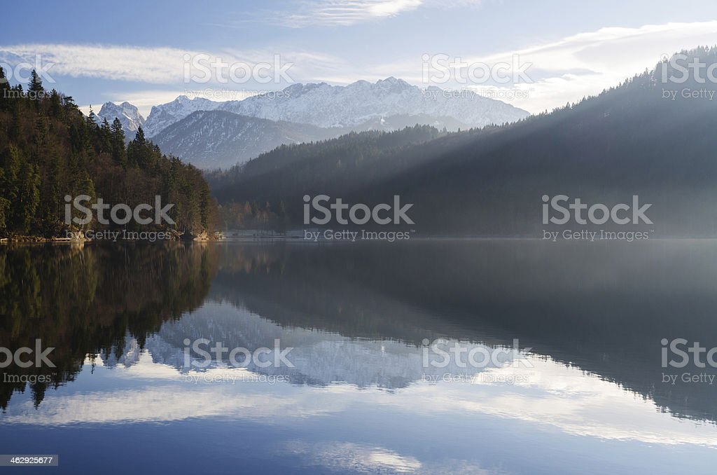 Lake Hechtsee with Wilder Kaiser stock photo