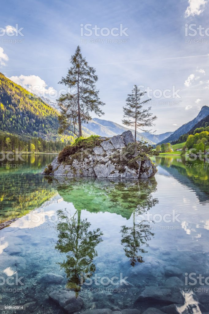 Lake Hintersee in Nationalpark Berchtesgadener Land, Bavaria, Germany stock photo