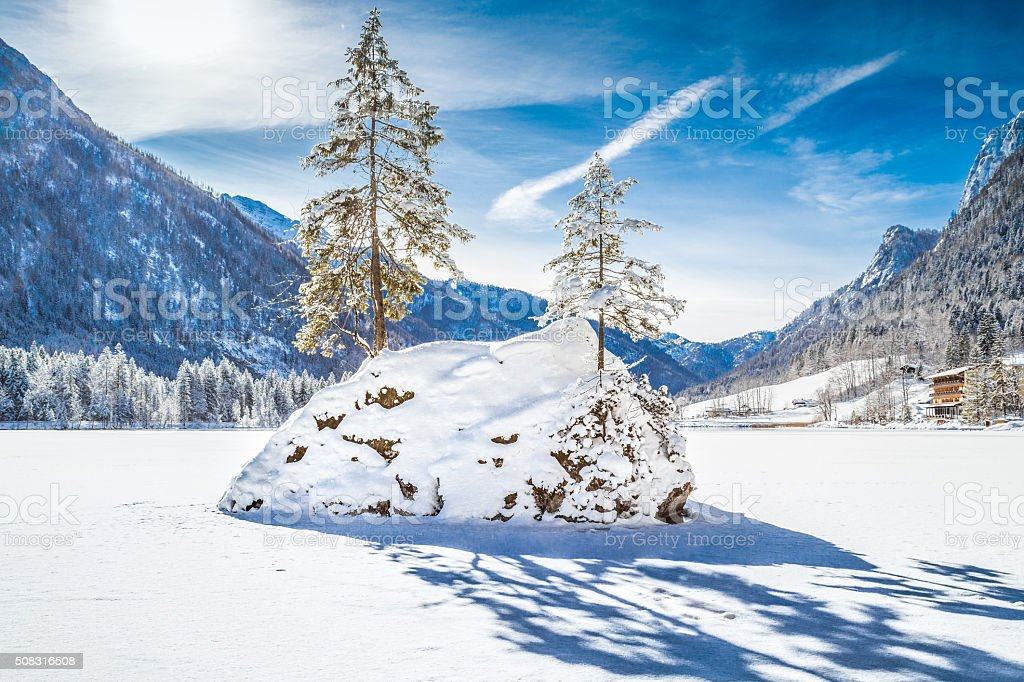 Lake Hintersee in winter, Berchtesgadener Land, Bavaria, Germany stock photo