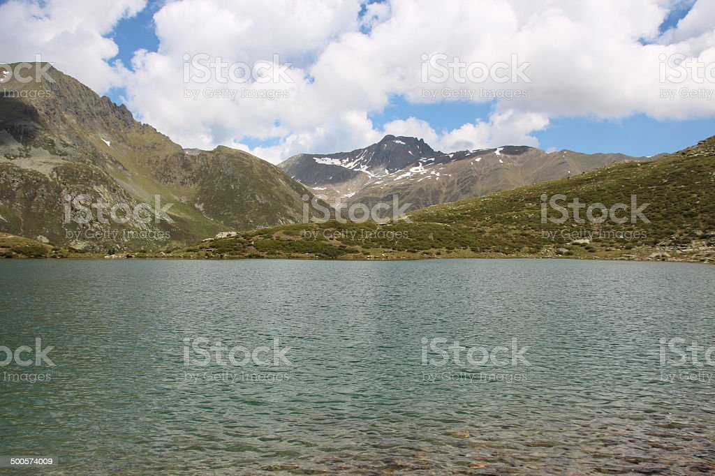 Lake Hirschebensee in Spring, Kühtai, Tyrol, Austria stock photo