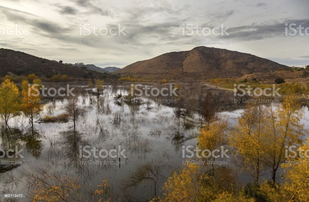 Lake Hodges and Bernardo Mountain near Interstate 15 San Diego County North Inland stock photo