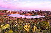 Scenic Sunset Landscape View of Lake Hodges on great hiking trail in San Dieguito River Park near Interstate 15 San Diego County North Inland