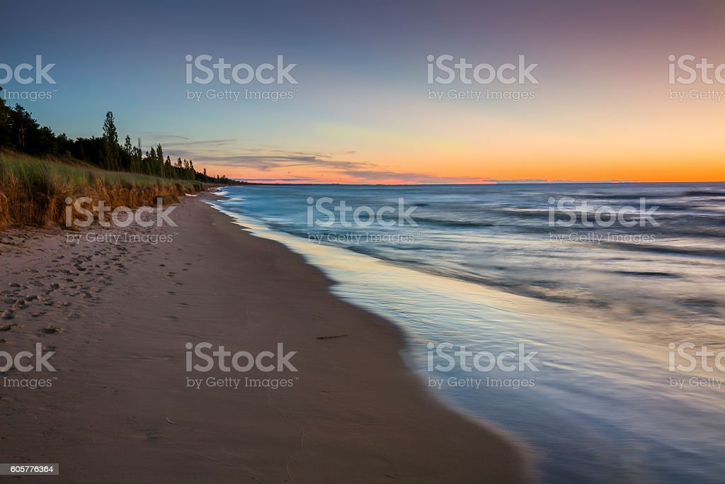 Lake Huron Beach after Sunset - Pinery Provincial Park stock photo