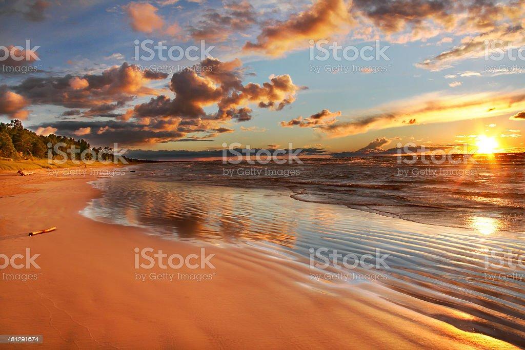 Lake Huron beach at sunset stock photo
