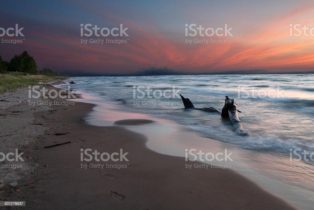 Lake Huron Beach at Twilight stock photo