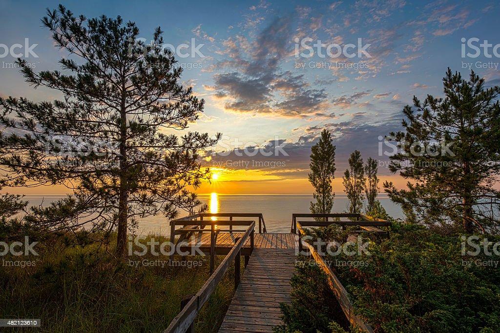 Lake Huron Boardwalk at Sunset stock photo