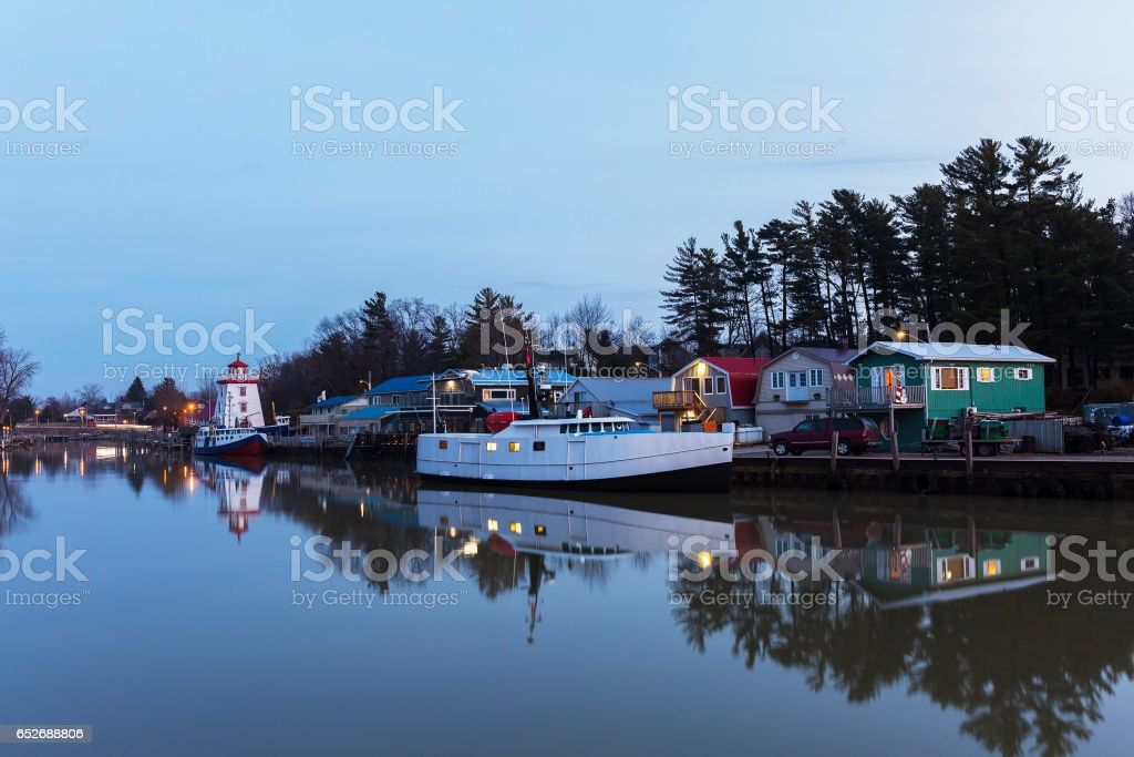 Lake Huron Harbour in Early Winter stock photo