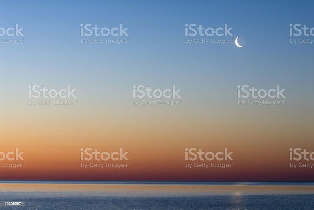 Lake Huron, Sunrise and Moon royalty-free stock photo