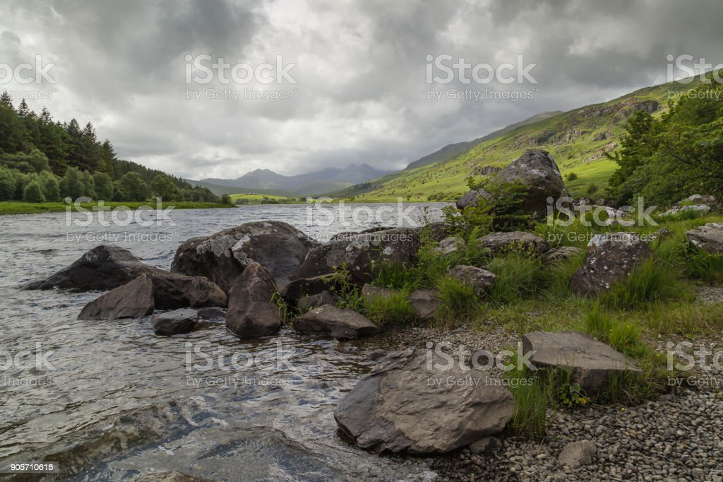 Lake In A Welsh Valley stock photo