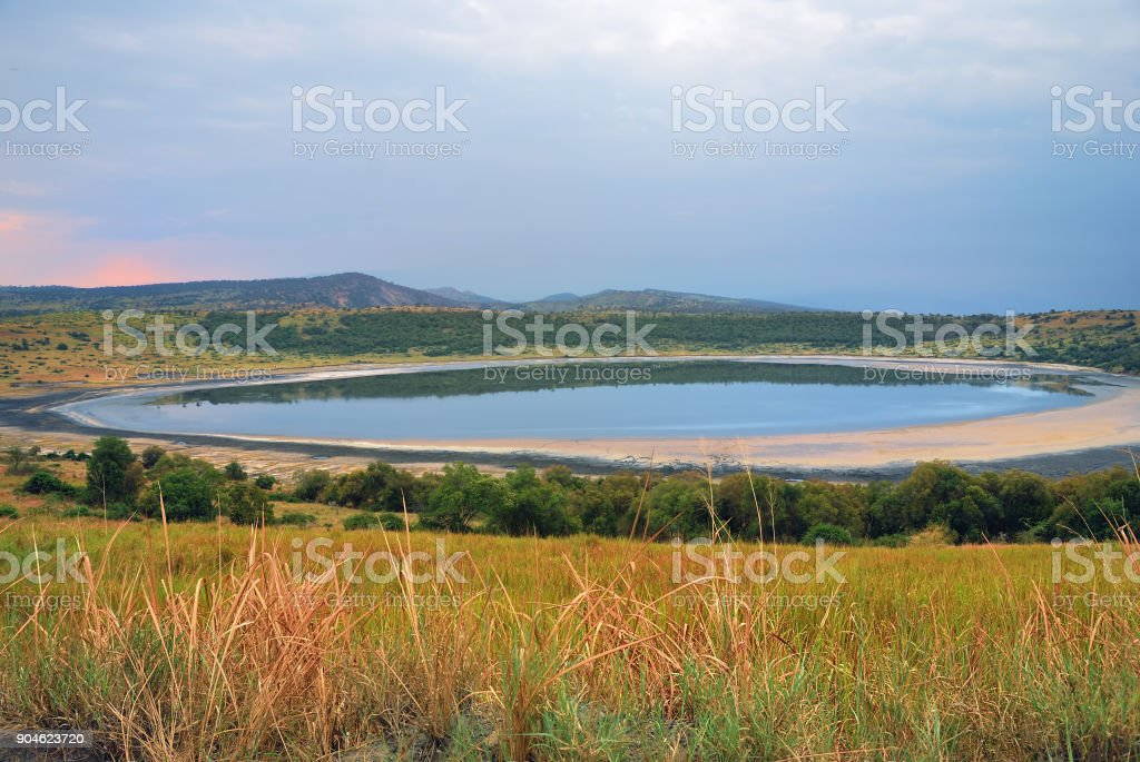 Lake in african savanna, Queen Elizabeth N.P., Uganda stock photo