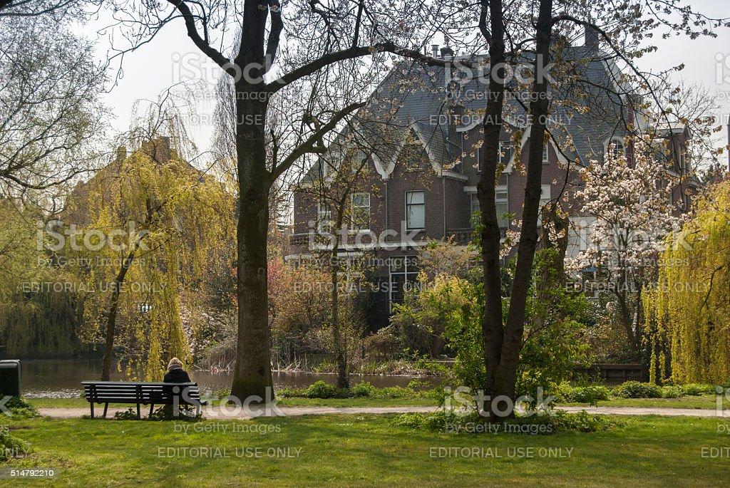 Lake in Amsterdam, Netherlands stock photo