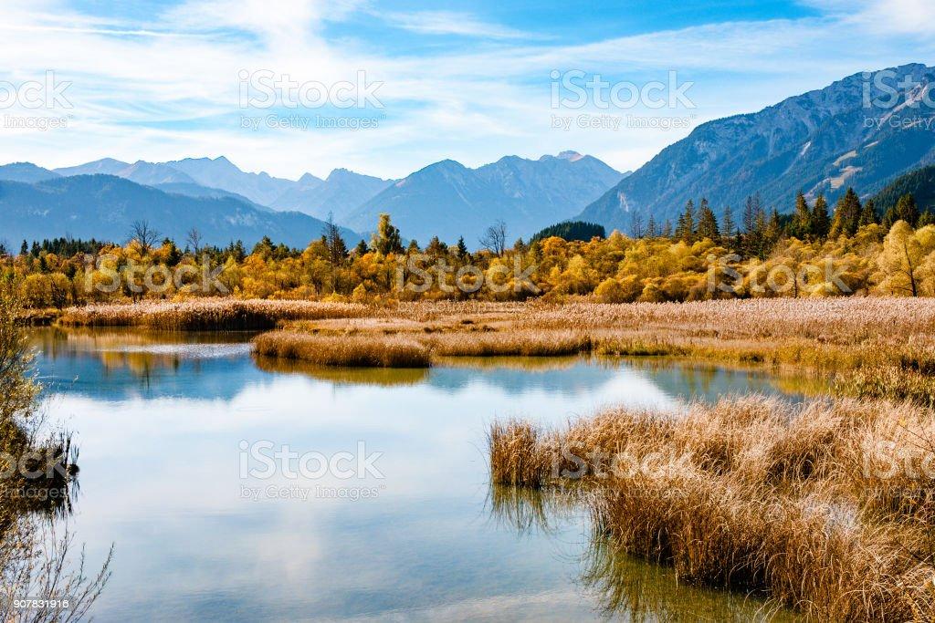 Lake in autumn at Tirol, Lechtal Alps, Austria stock photo