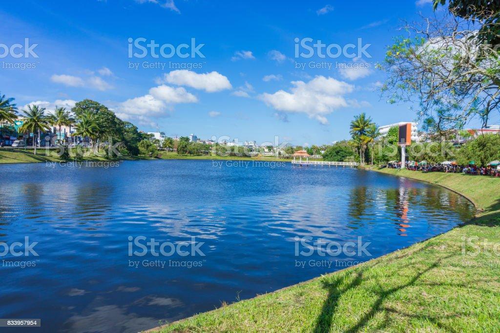 Lake in Bao Loc city Vietnam stock photo