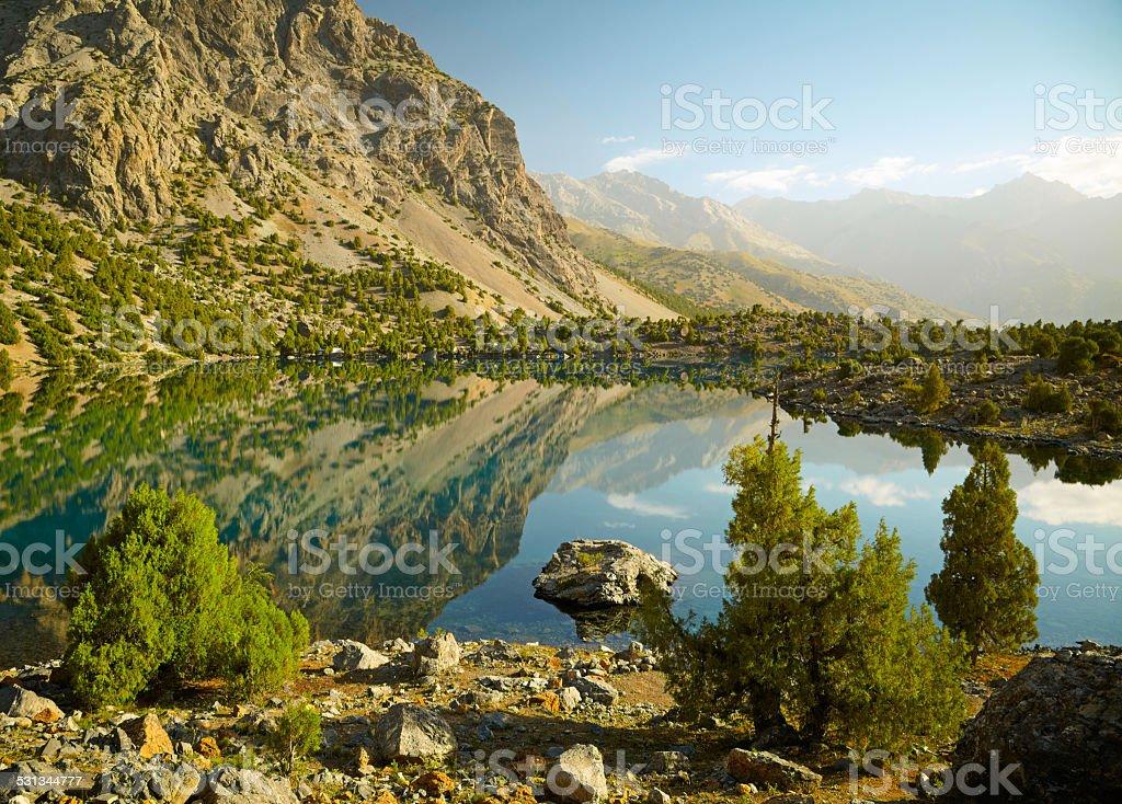 Lake in Fann mountains, Tajikistan stock photo