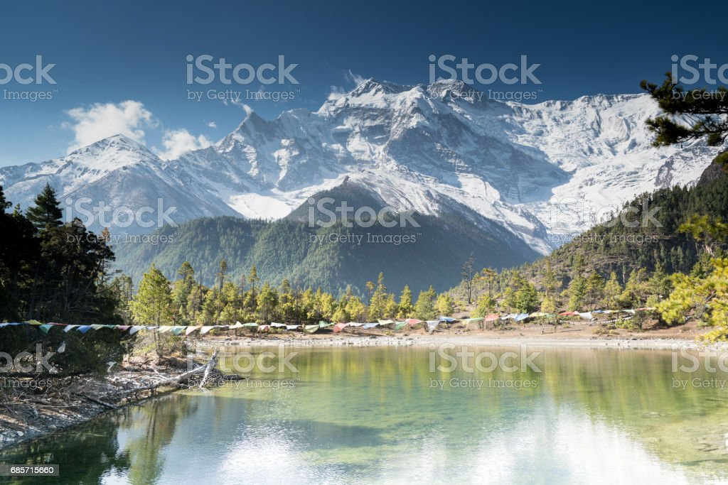 Lake in front on the   Annapurna circuit,trekking in Nepal royalty-free stock photo