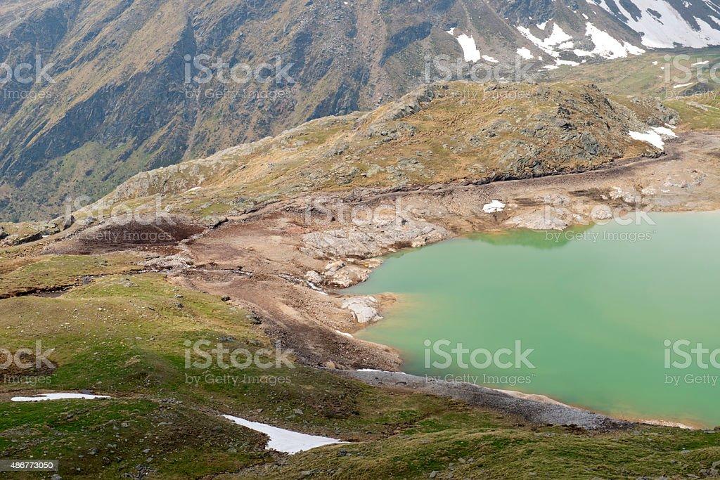 Lake in Gavia Pass stock photo