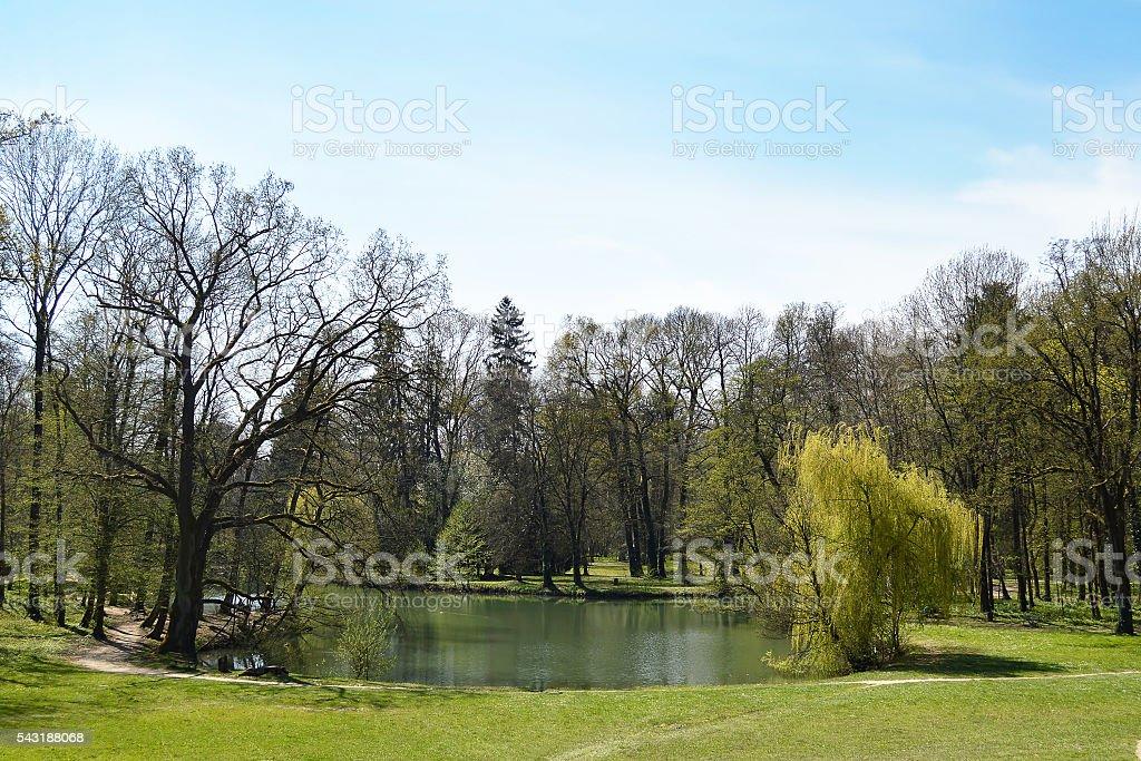 Lake in Maksimir park, Zagreb, Croatia stock photo