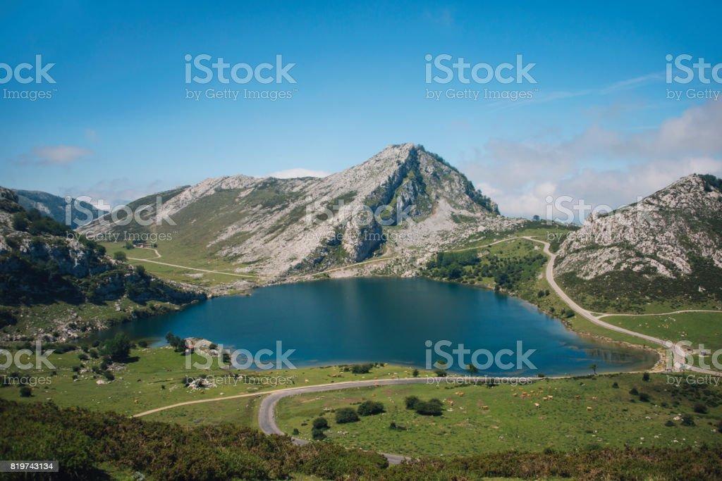 Lake in Picos de Europa stock photo