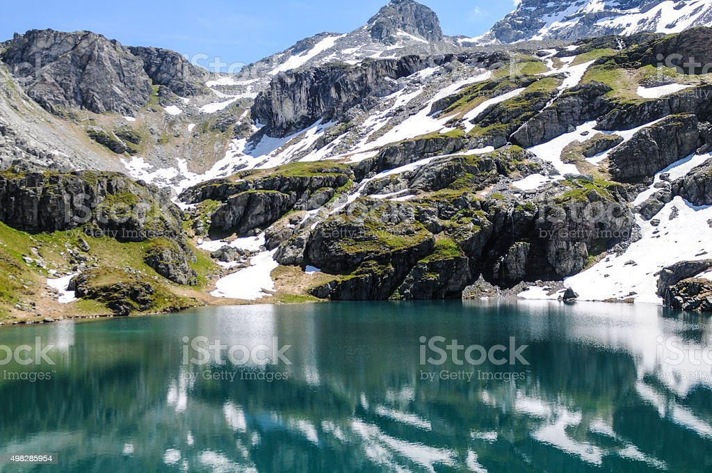 Lake in the Alps stock photo