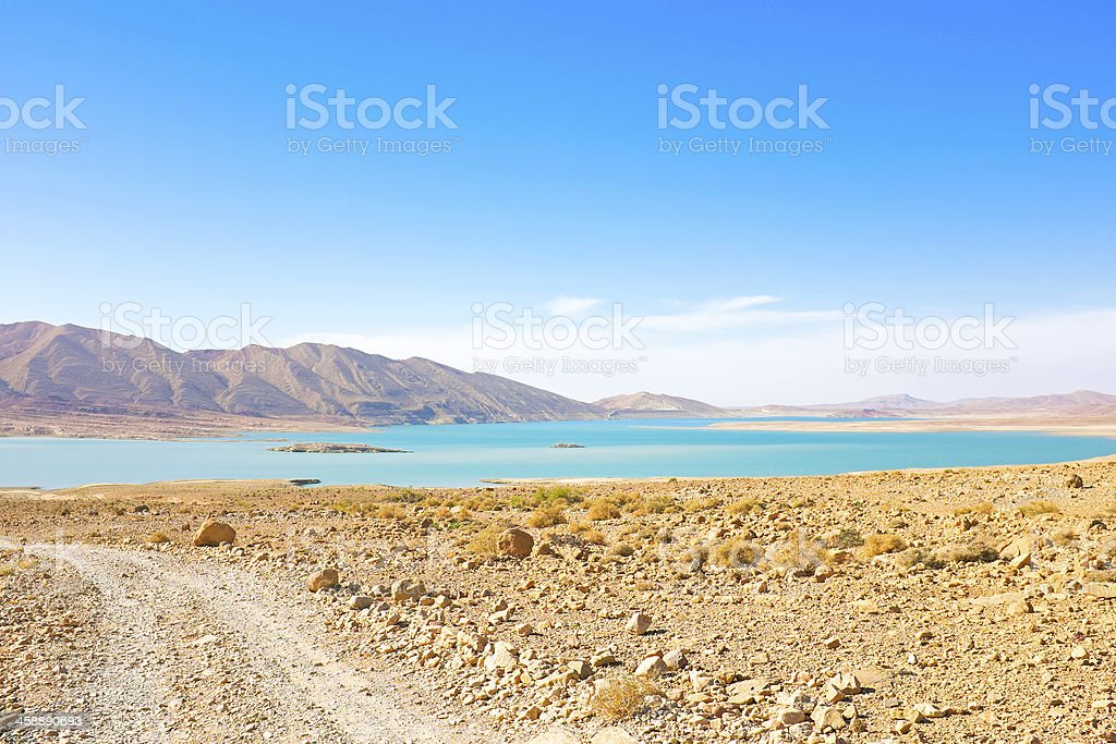 Lake in the desert from Morocco Africa stock photo
